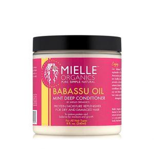 Mielle Organics Babassu Oil & Mint Deep Conditioner är ett protein / återfuktnings återställer för torrt och skadat hår